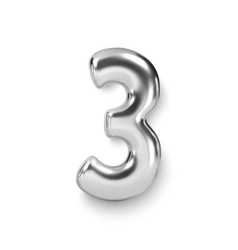 Silver number balloon 3 three realistic 3d vector