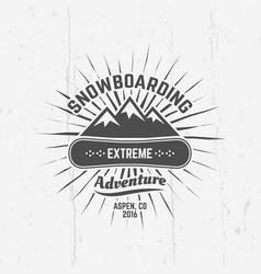 snowboarding extreme sport black emblem vector image