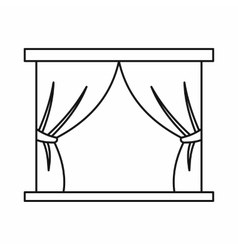 Stage curtains icon in outline style vector image