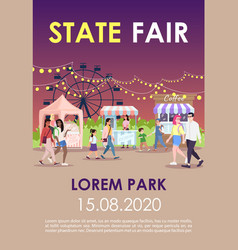 State fair brochure template funfair night street vector