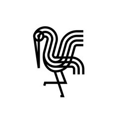 Stork monoline bold logo icon vector