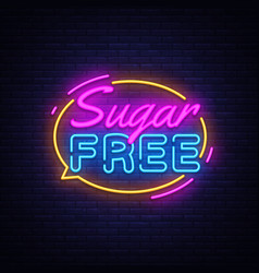sugar free neon text sugar neon sign vector image