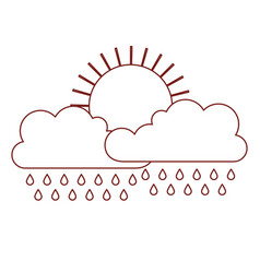sun and cloud with rain in dark red contour vector image