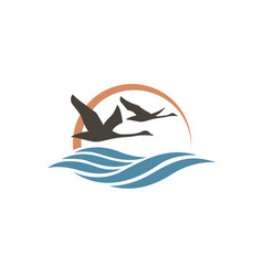 Swans and waves icon vector