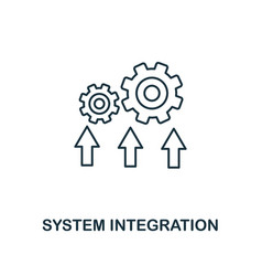 system integration icon thin line style industry vector image