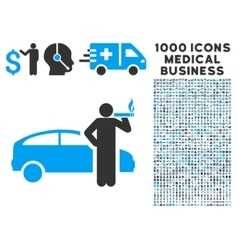 Taxi Driver Icon with 1000 Medical Business vector image