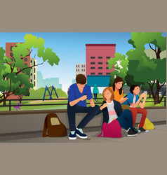 teenagers using their phones outdoor vector image