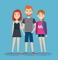 Three students school standing together with vector