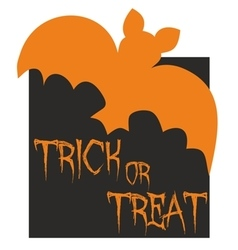 Trick or treat card with bat vector image