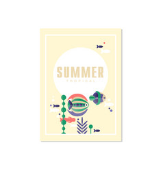 tropical summer banner template trendy seasonal vector image
