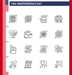 Usa independence day line set 16 usa vector