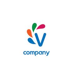 v letter logo vector image