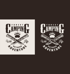 Vintage monochrome summer camping logotype vector