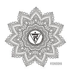 vishudda fifth chakra throat vector image