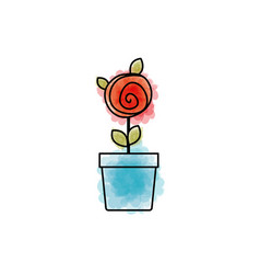 Watercolor drawing of red rose with leaves and vector