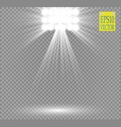 White spotlight light effect on transparent vector