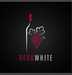 Wine bottle logo design red and white wine grape vector