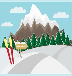winter mountain landscape background witn ski vector image