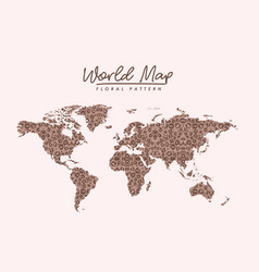 World map floral pattern stains on light pink vector