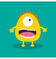 Yellow monster with one eye teeth tongue Funny vector