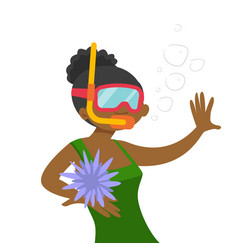 young african-american woman swimming underwater vector image