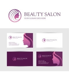 Beauty salon business cards design vector image