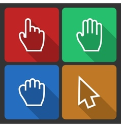 Hand Cursors Icons with Long Shadow vector image vector image