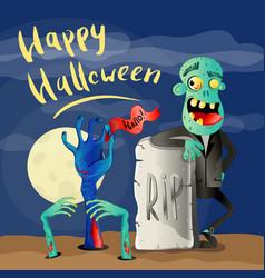 happy halloween poster with zombie vector image vector image
