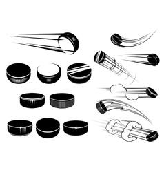 Ice hockey pucks set vector image vector image