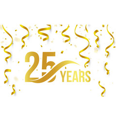 isolated golden color number 25 with word years vector image vector image