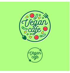 logo vegan cafe fork spoon vegetables vector image