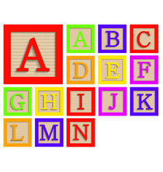 modern wooden alphabet blocks set vector image
