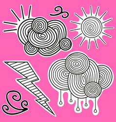 animation black-and-white stickers about weather vector image