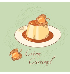 Creme caramel dessert isolated in vector image