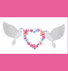 doves carrying wreath flowers vector image vector image