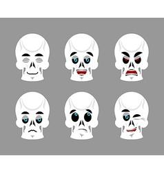 Emotions skull Set expressions avatar skeleton vector image vector image