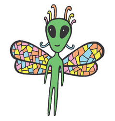 fairy tales sticker with dragonfly alien vector image