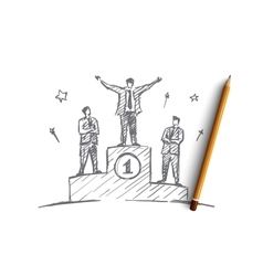 Hand drawn businessman standing on the first place vector image