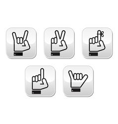 Hand gestures signals and signs vector image vector image