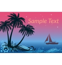 Landscape Ship Palms and Night Sea vector image vector image