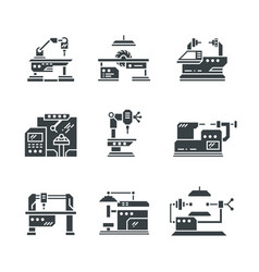 steel industry machine tools icons vector image