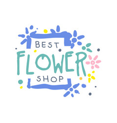 best flower shop logo template hand drawn vector image vector image