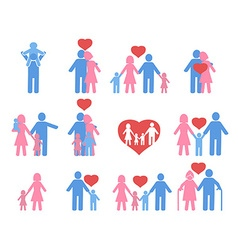 color family icons set vector image vector image