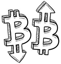 doodle currency up down bitcoin vector image vector image