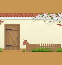 facade with old wooden door fence branch grass vector image