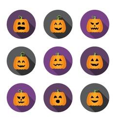 Halloween pumpkins flat circle icons set vector image