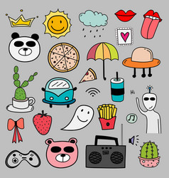 hand drawn doodle lovely set vector image