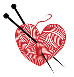 heart wool knitting needle isolates hobby vector image