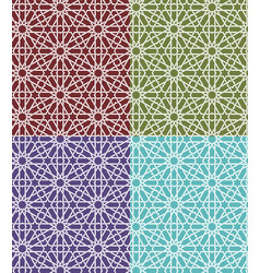 seamless islamic moroccan pattern set arabic vector image