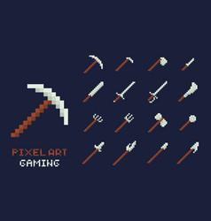 set of pixel art tools icons axe pick vector image